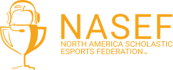 North America Scholastic Esports Federation logo in orange with white background
