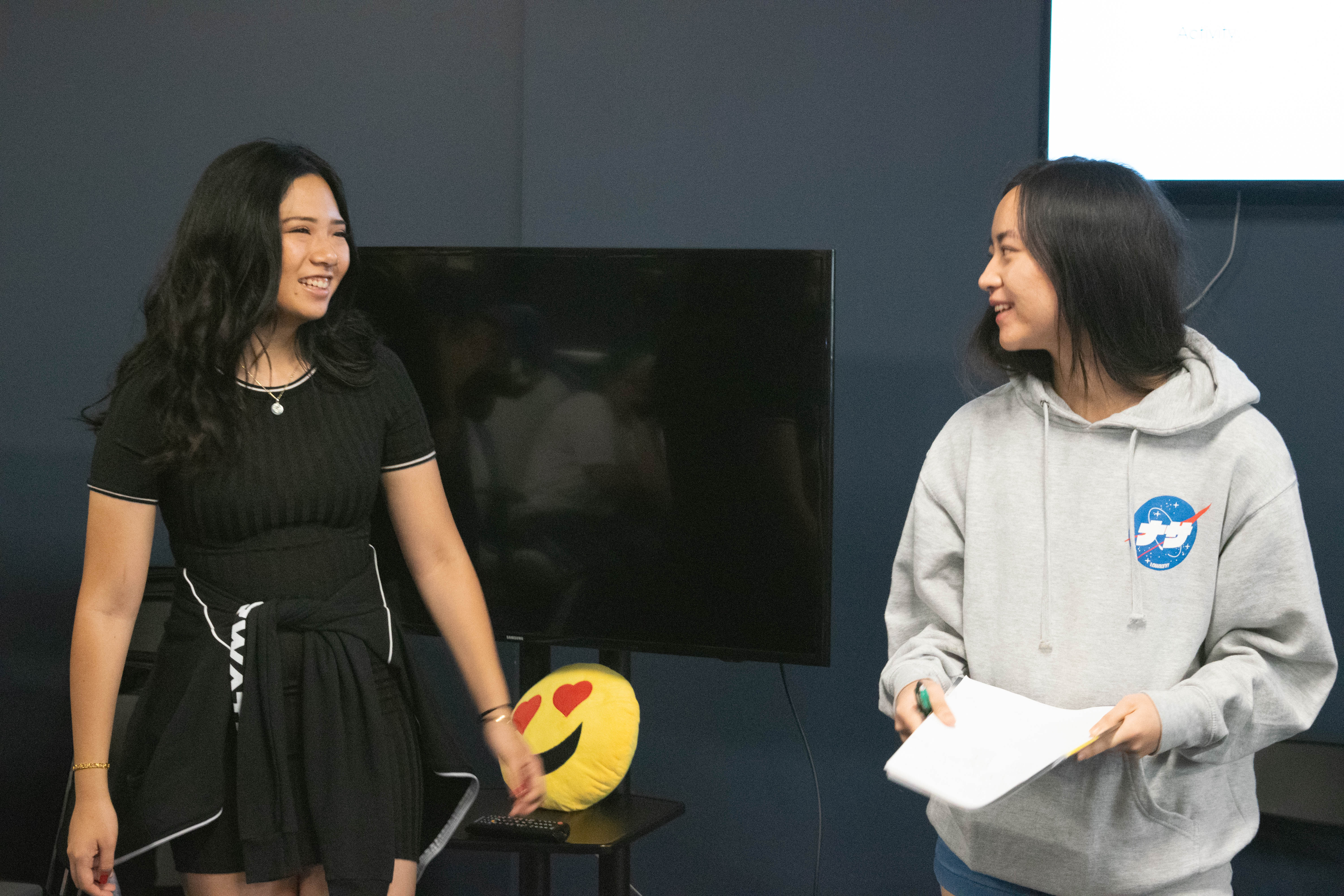 LA Valiant's Sabrina Wong (left) taught campers about the ins and outs of planning an esports event.