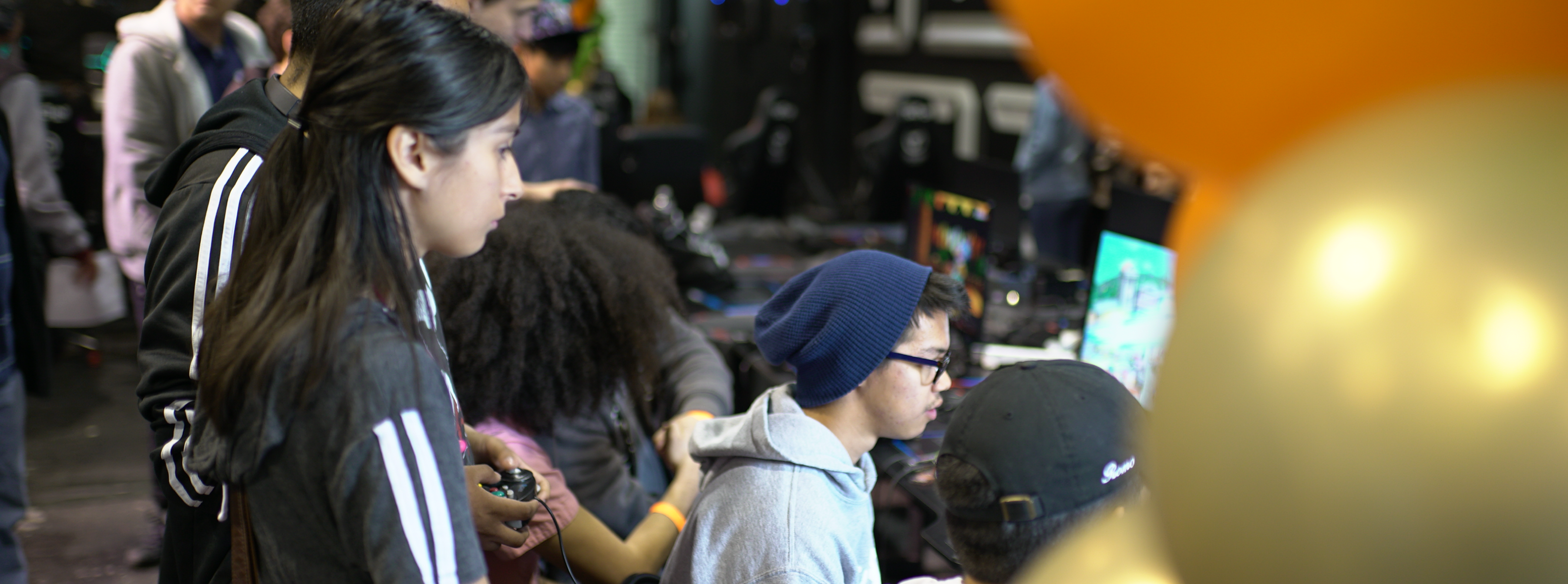 High school students playing in a Smash Ultimate tournament hosted by Laguna Hills High School in Laguna Hills, California at the 2019 North America High School Scholastic League of Legends Championship.