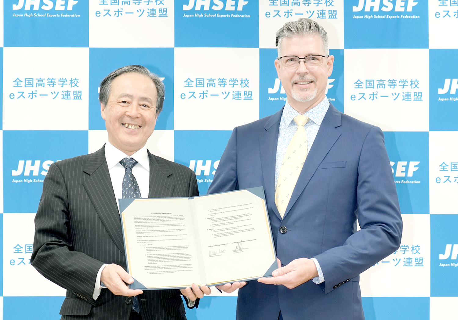 Kimito Kubo, President of JHSEF and Kevin Brown, NASEF Esports Program Specialist
