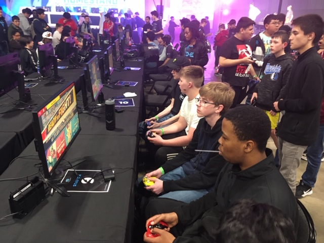 Students at a TexSEF esports tournament